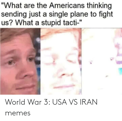 "thinking: ""What are the Americans thinking  sending just a single plane to fight  us? What a stupid tacti-"" World War 3: USA VS IRAN memes"