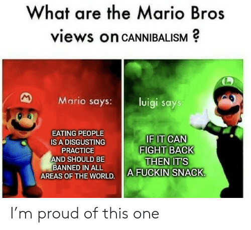 Mario, World, and Proud: What are the Mario Bros  views on CANNIBALISM  M  Mario says:  luigi says  EATING PEOPLE  IF IT CAN  FIGHT BACK  THEN IT'S  A FUCKIN SNACK  IS A DISGUSTING  PRACTICE  AND SHOULD BE  BANNED IN ALL  AREAS OF THE WORLD. I'm proud of this one