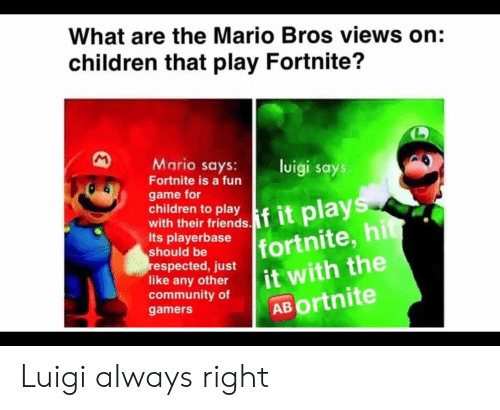 What Are The Mario Bros Views On Children That Play Fortnite