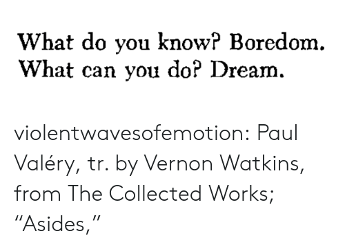 """Boredom: What do you know? Boredom.  What can you do? Dream. violentwavesofemotion:  Paul Valéry, tr. by Vernon Watkins, from The Collected Works; """"Asides,"""""""