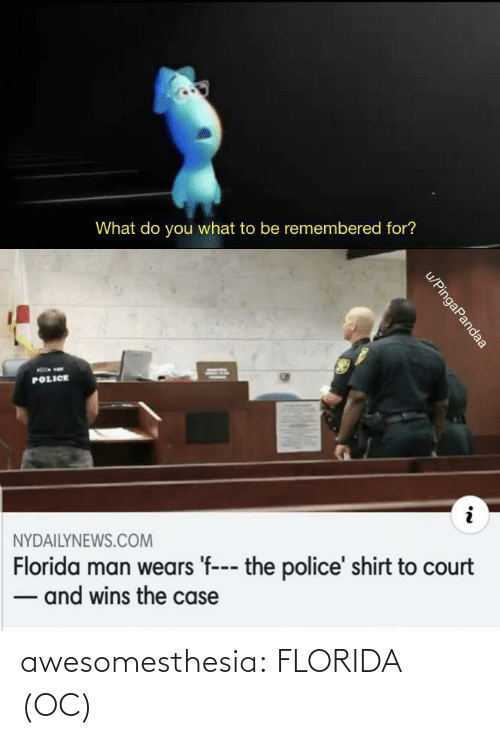 court: What do you what to be remembered for?  POLICE  NYDAILYNEWS.COM  Florida man wears 'f--- the police' shirt to court  - and wins the case  u/PingaPandaa awesomesthesia:  FLORIDA (OC)