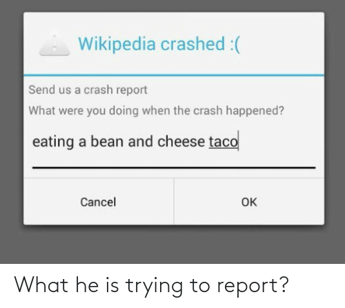 what: What he is trying to report?