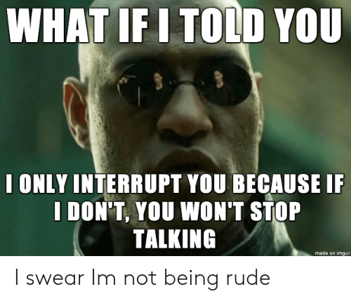Being Rude: WHAT IF I TOLD YOU  I ONLY INTERRUPT YOU BECAUSE I  I DON'T, YOU WON'T STOP  TALKING  made on imgur I swear Im not being rude