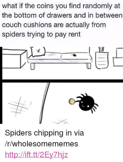 "drawers: what if the coins you find randomly at  the bottom of drawers and in between  couch cushions are actually from  spiders trying to pay rent <p>Spiders chipping in via /r/wholesomememes <a href=""http://ift.tt/2Ey7hjz"">http://ift.tt/2Ey7hjz</a></p>"