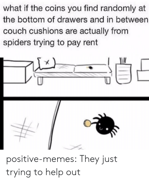 drawers: what if the coins you find randomly at  the bottom of drawers and in between  couch cushions are actually from  spiders trying to pay rent positive-memes:  They just trying to help out