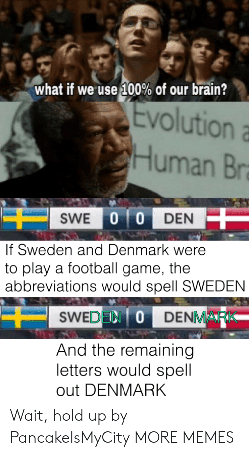 Dank, Football, and Memes: what if we use 100% of our brain?  Evolution  Human Br  SWE 0 0 DEN  If Sweden and Denmark were  to play a football game, the  abbreviations would spell SWEDEN  SWEDEN ODENMARK  And the remaining  letters would spell  out DENMARK Wait, hold up by PancakeIsMyCity MORE MEMES