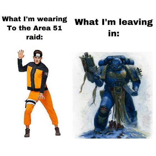 Area 51, Raid, and What: What I'm wearing WhatI'm leaving  To the Area 51  in:  raid: