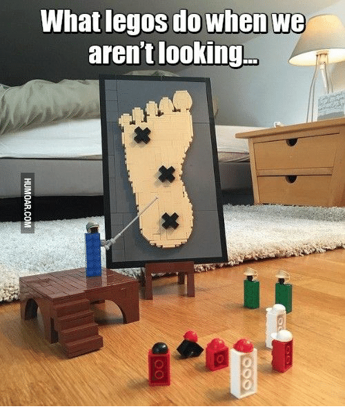 Legos, Looking, and Com: What legos do when we  aren't looking...  HUMOAR.COM