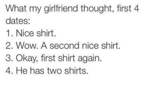 Wow, Okay, and Girlfriend: What my girlfriend thought, first 4  dates:  1. Nice shirt.  2. Wow. A second nice shirt  3. Okay, first shirt again.  4. He has two shirts.