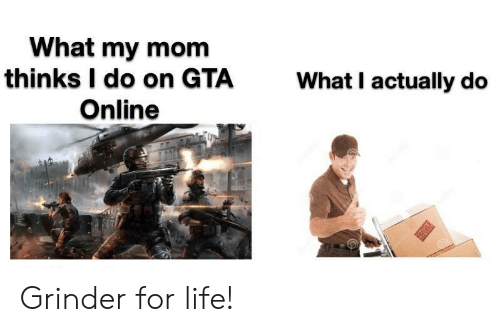 Life, Mom, and Gta: What my mom  thinks I do on GTA  Online  What I actually do  T Grinder for life!