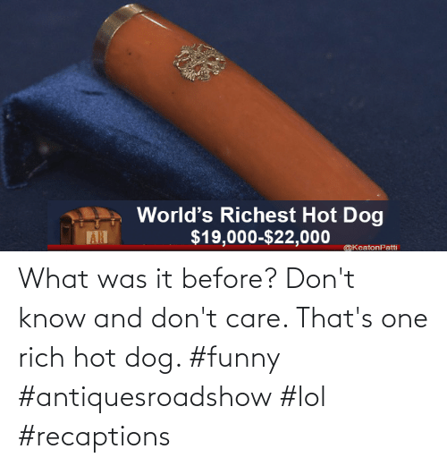 care: What was it before? Don't know and don't care. That's one rich hot dog. #funny #antiquesroadshow #lol #recaptions