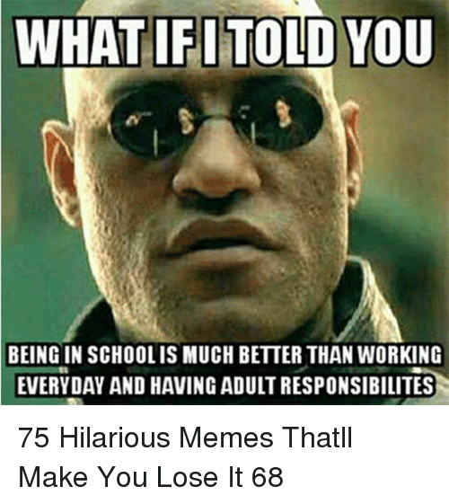 Memes, Hilarious, and Working: WHATIFITOLD YOU  BEING IN SCHOOLIS MUCH BETTER THAN WORKING  EVERYDAY AND HAVING ADULT RESPONSIBILITES 75 Hilarious Memes Thatll Make You Lose It 68