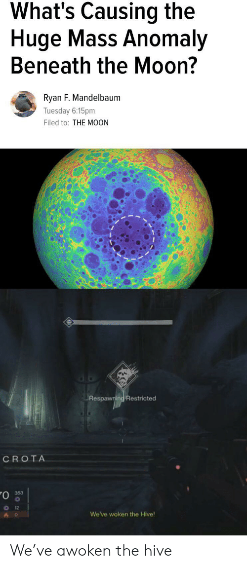 Destiny, Moon, and Hive: What's Causing the  Huge Mass Anomaly  Beneath the Moon?  Ryan F. Mandelbaum  Tuesday 6:15pm  Filed to: THE MOON  Respawning Restricted  CROTA  353  We've woken the Hive! We've awoken the hive