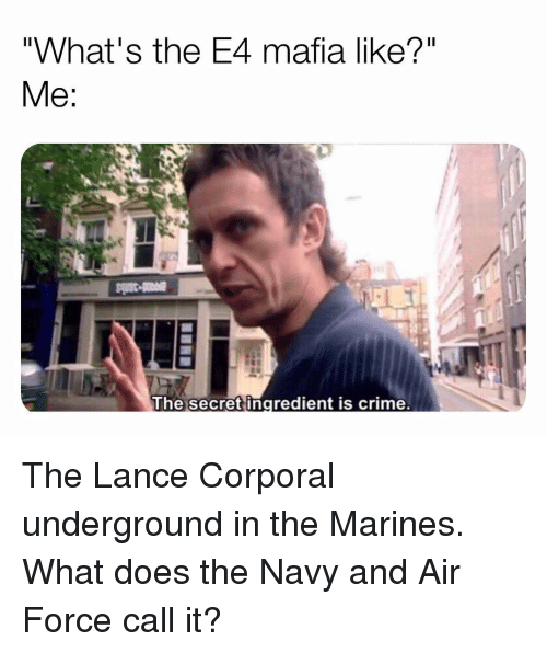 """Marines: """"What's the E4 mafia like?""""  The secret ingredient is crime. The Lance Corporal underground in the Marines. What does the Navy and Air Force call it?"""