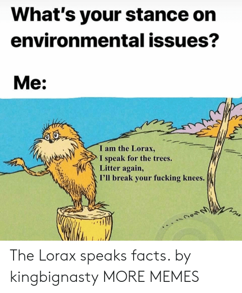 Dank, Facts, and Fucking: What's your stance on  environmental issues?  Me:  I am the Lorax,  I speak for the trees.  Litter again,  I'll break your fucking knees. The Lorax speaks facts. by kingbignasty MORE MEMES