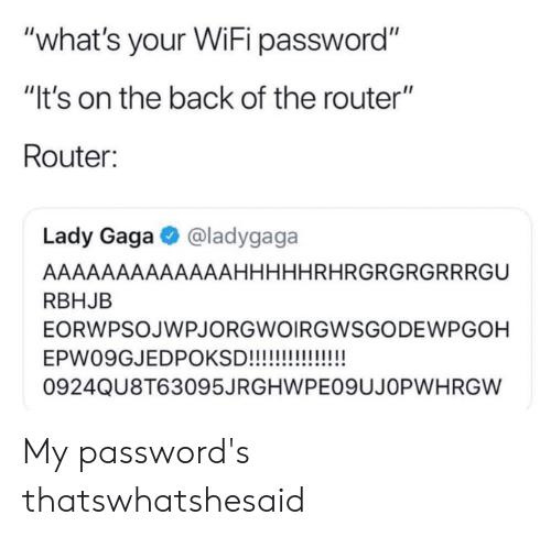 "Lady Gaga, Reddit, and Router: ""what's your WiFi password""  ""It's on the back of the router""  Router:  @ladygaga  Lady Gaga  AAAAAAAAAAAAAHHHHHRHRGRGRGRRRGU  RBHJB  EORWPSOJWPJORGWOIRGWSGODEWPGOH  EPW09GJEDPOKSD!!!!!  0924QU8T63095JRGHWPE09UJOPWHRGW My password's thatswhatshesaid"