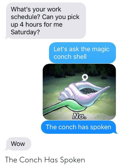Wow, Work, and Magic: What's your work  schedule? Can you pick  up 4 hours for me  Saturday?  Let's ask the magic  conch shell  No.  The conch has spoken  Wow The Conch Has Spoken