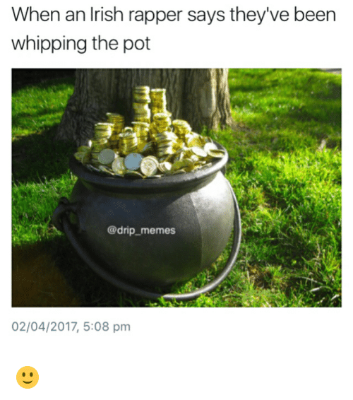 Drips: When an Irish rapper says they've been  whipping the pot  @drip memes  02/04/2017, 5:08 pm 🙂