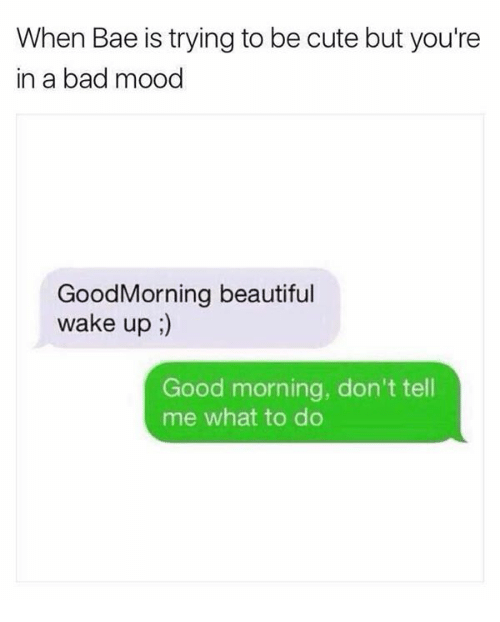 —˜: When Bae is trying to be cute but you're  in a bad mood  GoodMorning beautiful  wake up;  Good morning, don't tell  me what to do