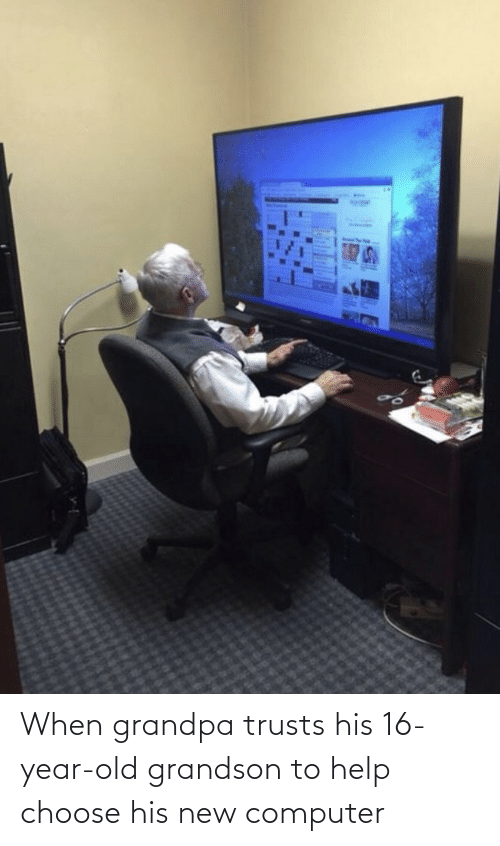Grandpa: When grandpa trusts his 16-year-old grandson to help choose his new computer