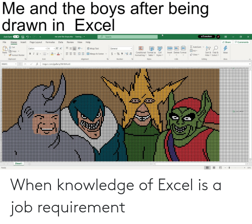 When: When knowledge of Excel is a job requirement