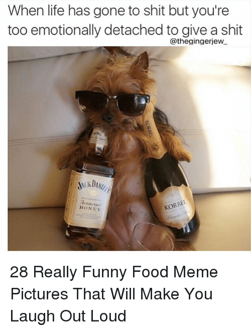 Food, Funny, and Life: When life has gone to shit but you're  too emotionally detached to give a shit  @thegingerjew  0ennesse  HONEY 28 Really Funny Food Meme Pictures That Will Make You Laugh Out Loud