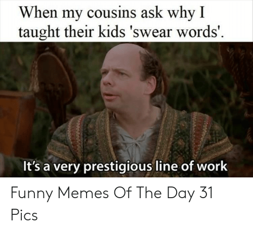 Funny, Memes, and Work: When my cousins ask why I  taught their kids 'swear words'  It's a very prestigious line of work Funny Memes Of The Day 31 Pics