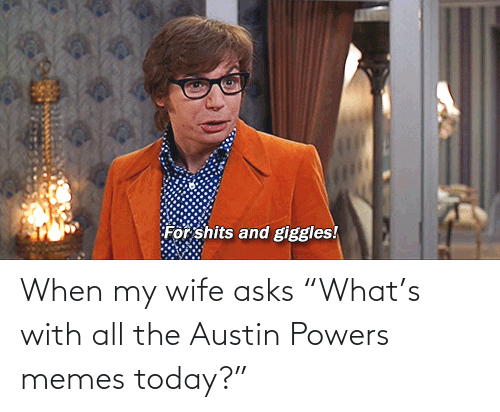 "Wife: When my wife asks ""What's with all the Austin Powers memes today?"""