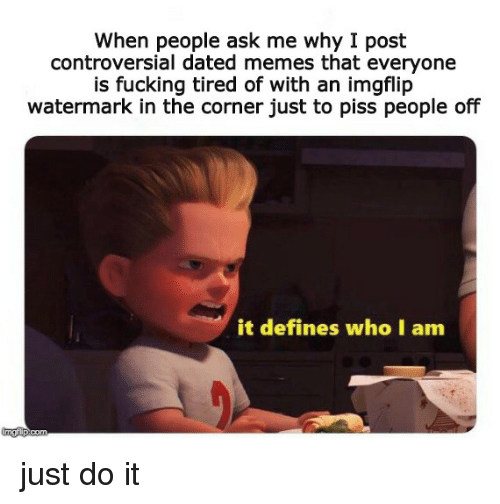 Fucking, Just Do It, and Memes: When people ask me why I post  controversial dated memes that everyone  is fucking tired of with an imgflip  watermark in the corner just to piss people off  it defines who I am