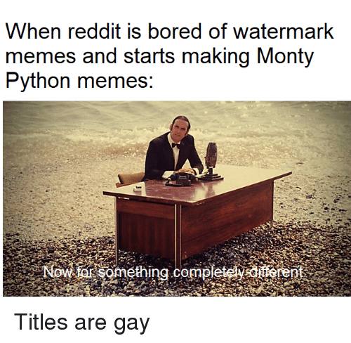 watermark: When reddit is bored of watermark  memes and starts making Monty  Python memes: Titles are gay