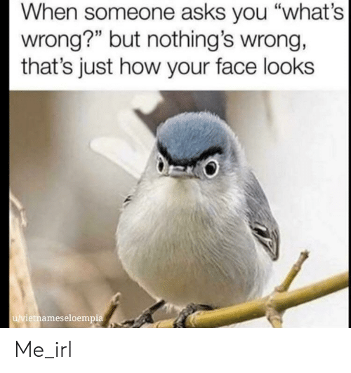 """Irl, Me IRL, and Asks: When someone asks you """"what's  wrong?"""" but nothing's wrong,  that's just how your face looks  u/vietnameseloempia Me_irl"""