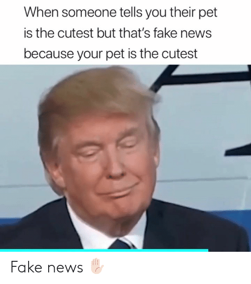 Fake, News, and Pet: When someone tells you their pet  is the cutest but that's fake news  because your pet is the cutest Fake news ✋🏻