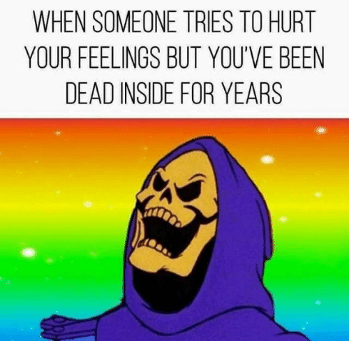 Been, Inside, and For: WHEN SOMEONE TRIES TO HURT  YOUR FEELINGS BUT YOU'VE BEEN  DEAD INSIDE FOR YEARS