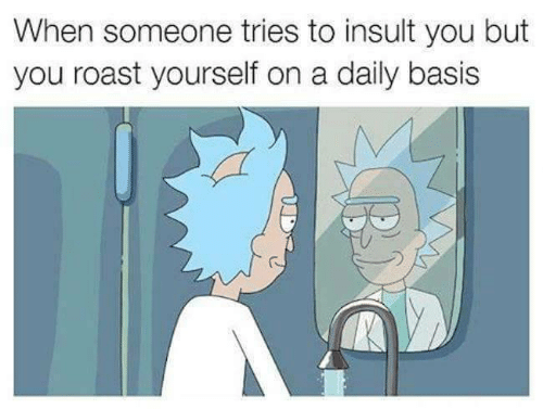 Roast, You, and Basis: When someone tries to insult you but  you roast yourself on a daily basis