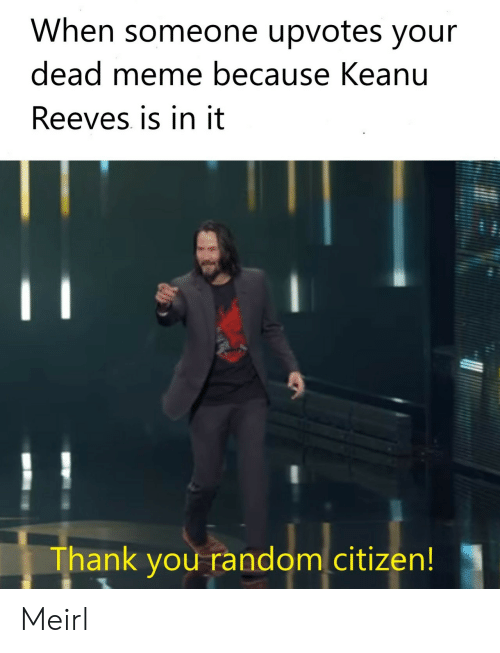 Meme, Thank You, and MeIRL: When someone upvotes your  dead meme because Keanu  Reeves is in it  Thank you random citizen! Meirl