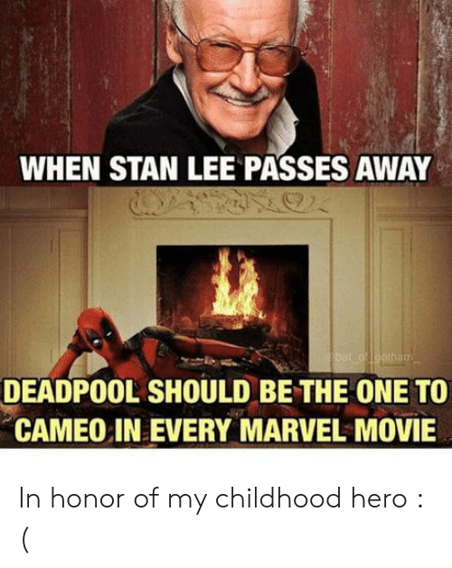 Stan, Stan Lee, and Deadpool: WHEN STAN LEE PASSES AWAY  DEADPOOL SHOULD BE THE ONE TO  CAMEO IN EVERY MARVEL MOVIE In honor of my childhood hero : (
