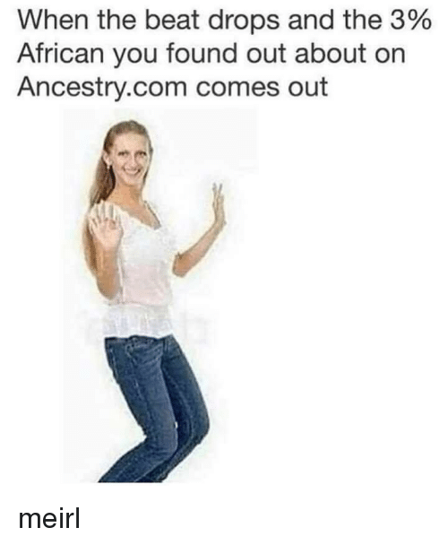 Ancestry, MeIRL, and ancestry.com: When the beat drops and the 3%  African you found out about on  Ancestry.com comes out meirl