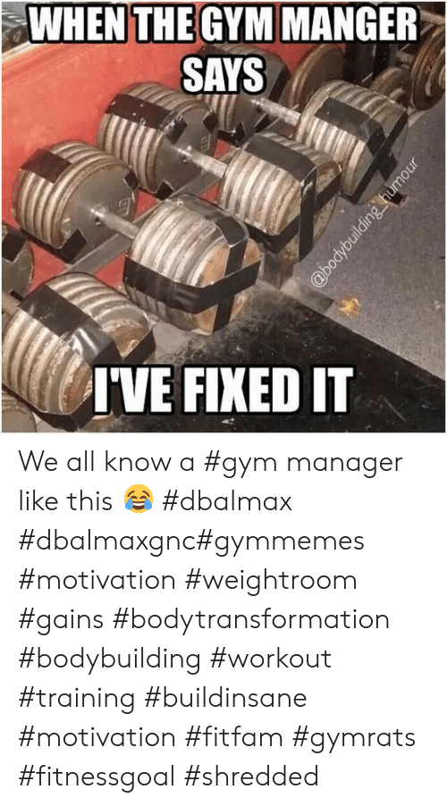 gains: WHEN THE GYM MANGER  SAYS  IVE FIXED IT  @bodybuilding humour We all know a #gym manager like this 😂 #dbalmax #dbalmaxgnc#gymmemes #motivation #weightroom #gains #bodytransformation #bodybuilding #workout #training #buildinsane #motivation #fitfam #gymrats #fitnessgoal #shredded