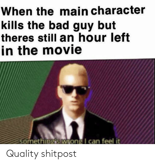 Main: When the main character  kills the bad guy but  theres still an hour left  in the movie  somethingis Wrong I can feel it Quality shitpost