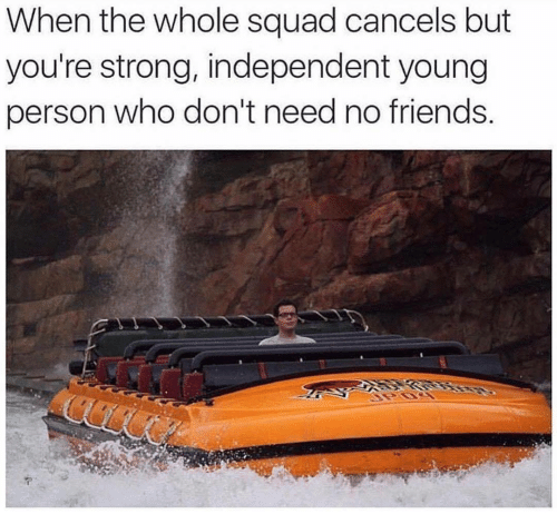 Squad: When the whole squad cancels but  you're strong, independent young  person who don't need no friends.