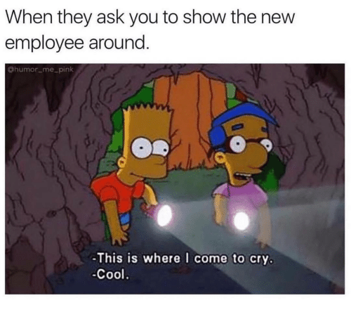 Cool, Pink, and Ask: When they ask you to show the new  employee around.  @humor me_pink  -This is where I come to cry.  -Cool.
