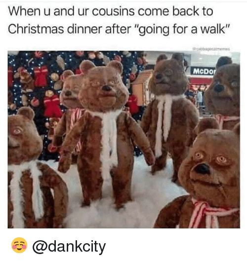 "Christmas, Memes, and Back: When u and ur cousins come back to  Christmas dinner after ""going for a walk""  McDor ☺️ @dankcity"