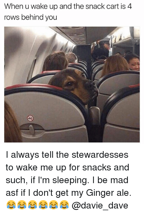 gingerly: When u wake up and the snack cart is 4  rows behind you I always tell the stewardesses to wake me up for snacks and such, if I'm sleeping. I be mad asf if I don't get my Ginger ale. 😂😂😂😂😂😂 @davie_dave
