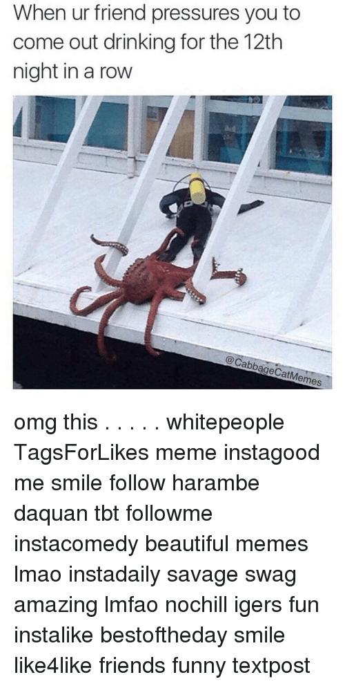 Harambism: When ur friend pressures you to  come out drinking for the 12th  night in a row  @CabbageCat emes omg this . . . . . whitepeople TagsForLikes meme instagood me smile follow harambe daquan tbt followme instacomedy beautiful memes lmao instadaily savage swag amazing lmfao nochill igers fun instalike bestoftheday smile like4like friends funny textpost