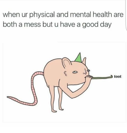Toots: when ur physical and mental health are  both a mess but u have a good day  toot