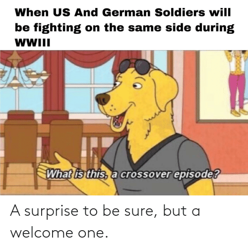 wwii: When US And German Soldiers will  be fighting on the same side during  WWII  What is this, a crossover episode? A surprise to be sure, but a welcome one.