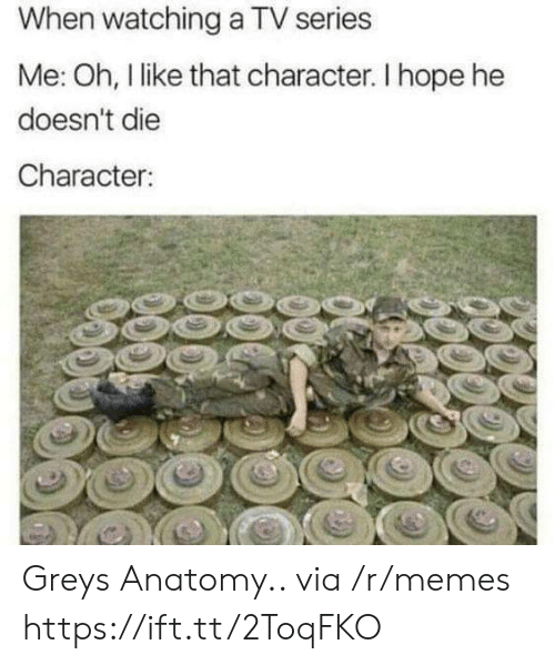 Memes, Grey, and Hope: When watching a TV series  Me: Oh, l like that character. I hope he  doesn't die  Character Greys Anatomy.. via /r/memes https://ift.tt/2ToqFKO