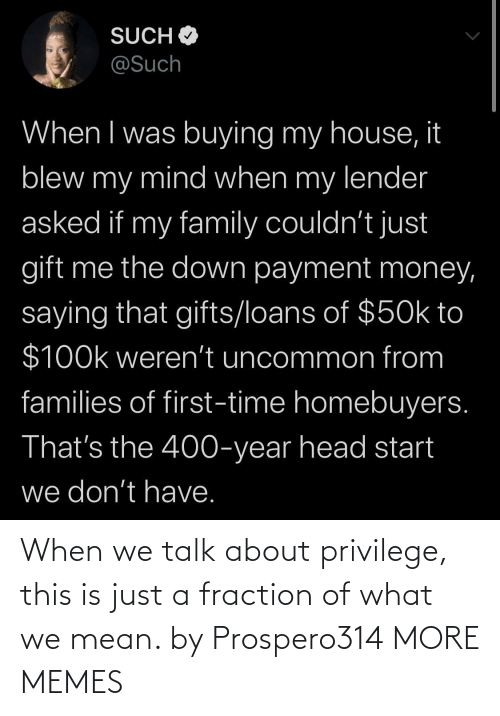 Mean: When we talk about privilege, this is just a fraction of what we mean. by Prospero314 MORE MEMES