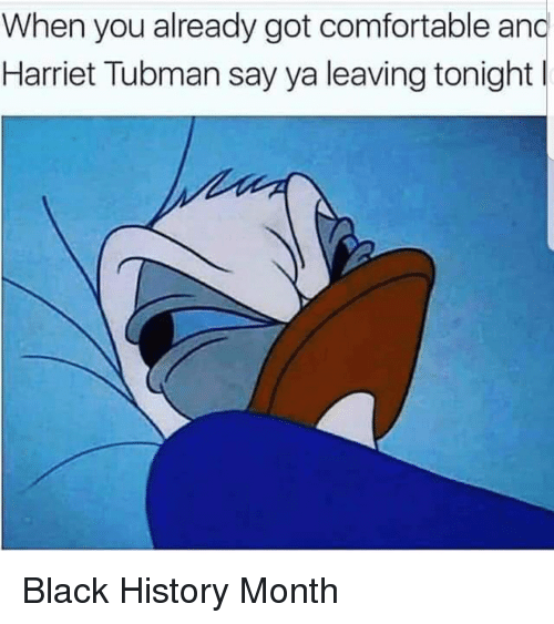 Black History Month, Blackpeopletwitter, and Comfortable: When you already got comfortable and  Harriet Tubman say ya leaving tonight l