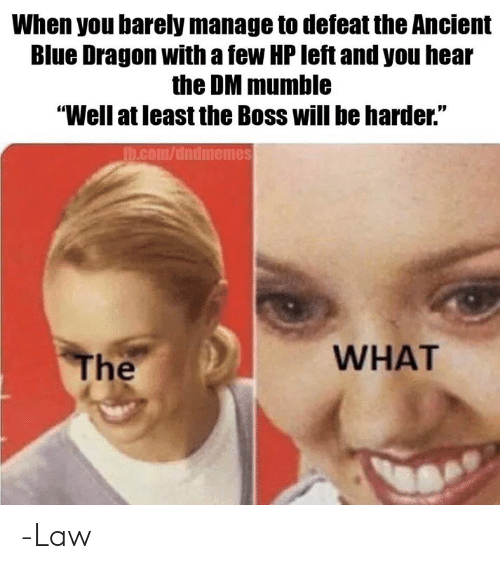 """Blue, DnD, and Ancient: When you barely manage to defeat the Ancient  Blue Dragon with a few HP left and you hear  the DM mumble  """"Well at least the Boss will be harder.""""  h.com/dndmemes  WHAT  The -Law"""
